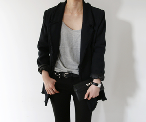black jeans, blazer, and fashion image