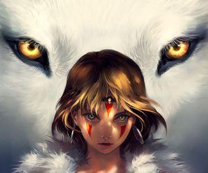 anime, princess mononoke, and wolf image