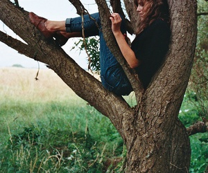 girl, tree, and nature image