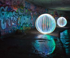 light, graffiti, and ball image
