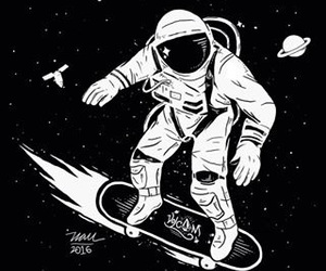 blackandwhite, planets, and astronaut image