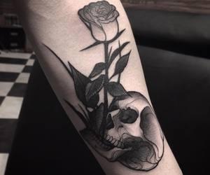black, flower, and ink image