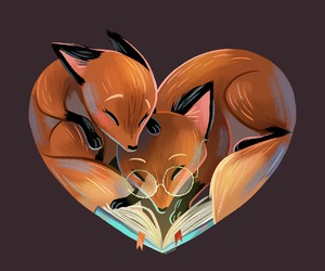 fox, book, and love image