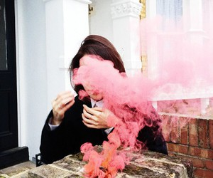 pink, girl, and smoke image