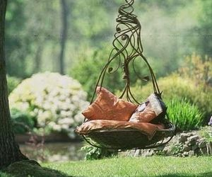 nature, swing, and garden image