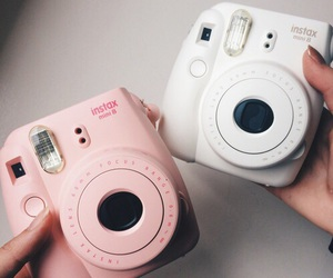 pink, white, and polaroid image
