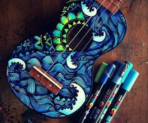 art, blue, and guitar image