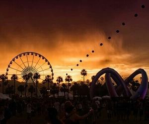 sunset, coachella, and festival image