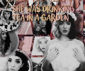 black and white, dusty pink, and melanie martinez image