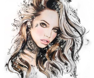 beautiful, drawing, and white image