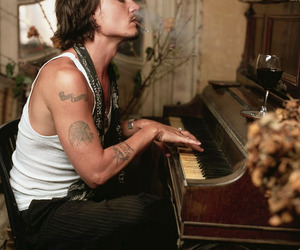 johnny depp, piano, and sexy image