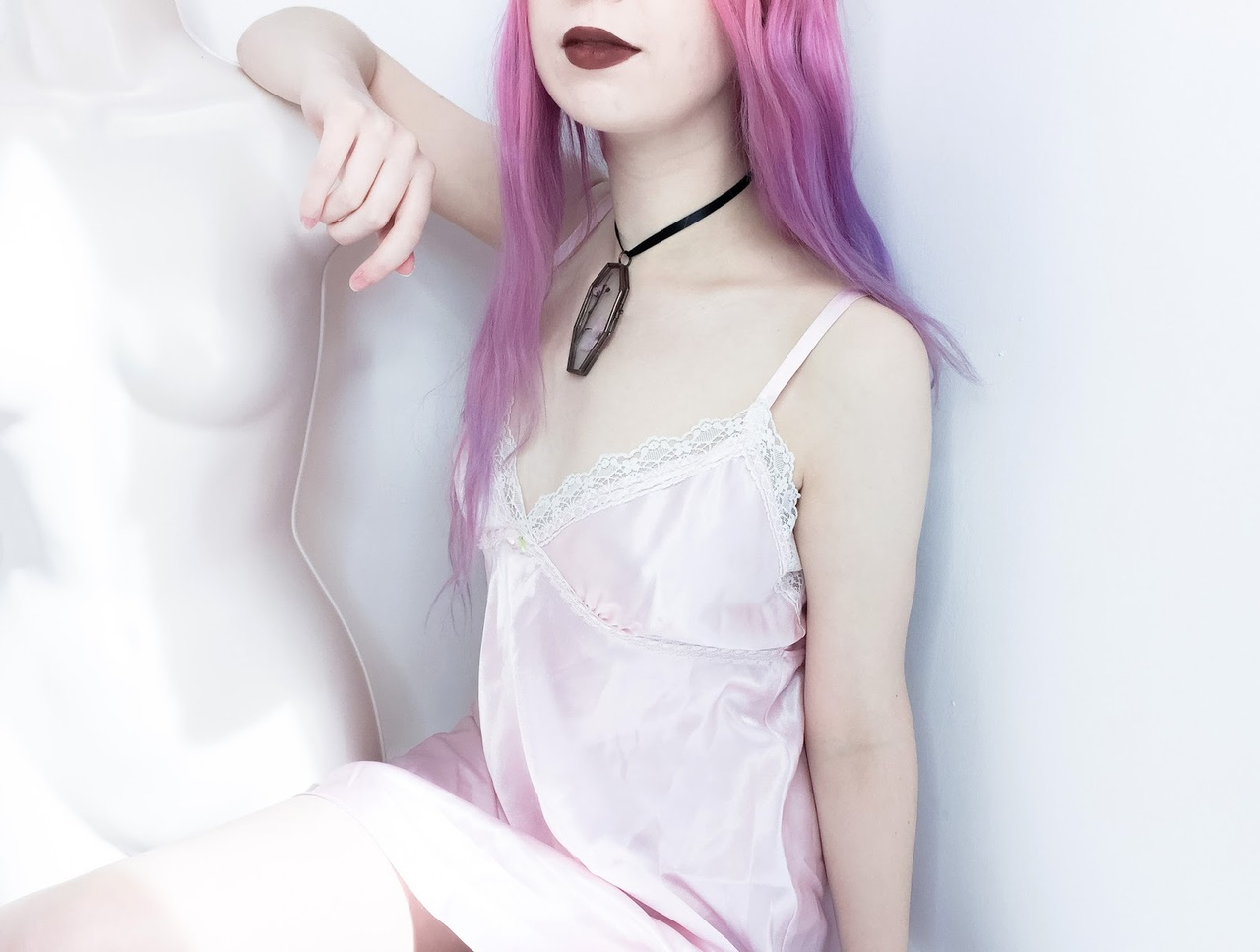 choker, goth, and gown image