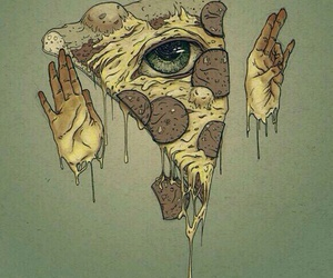 pizza, eye, and illuminati image