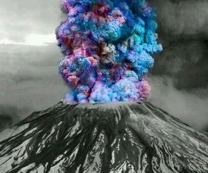 volcano, colors, and black and white image