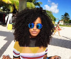 curly hair and beach image