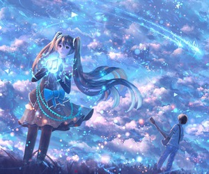 sky, anime girl, and fantasy image