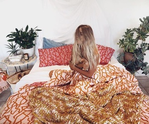 bed, blonde, and bohemian image