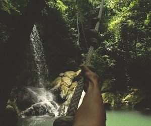 waterfall, summer, and green image