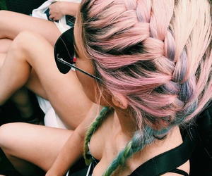 braid, hairstyles, and pink image