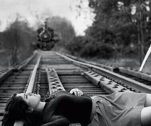 train, suicide, and sad image