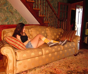 america, brunette, and couch image