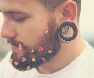 flowers, boy, and beard image