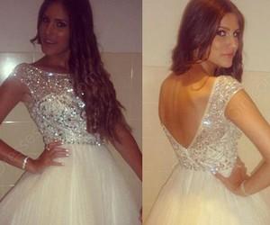 ivory homecoming dress, wedding dress, and open back prom dress image
