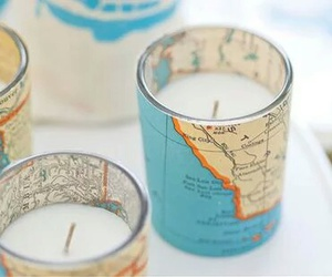 candle, map, and diy image