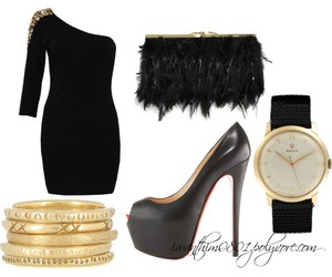 black, black and gold, and heels image