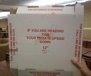 funny and upside down pizza image
