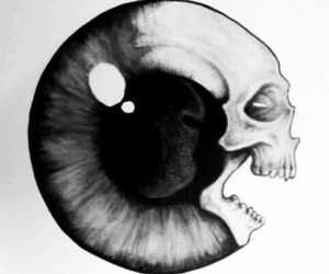 eye, skull, and art image