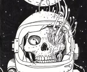 skull, mushroom, and space image