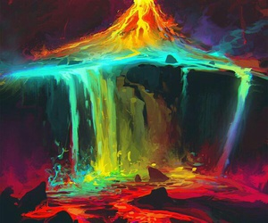 art, volcano, and colors image