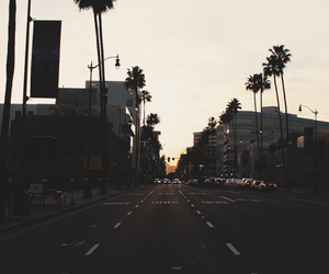 street, sunset, and city image