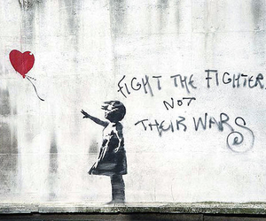 war, BANKSY, and fight image