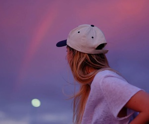 sky, girl, and pink image