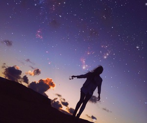 girl, night sky, and stars image