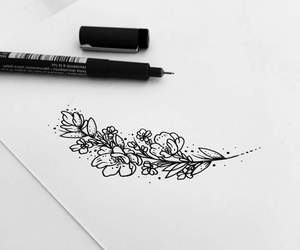 draw, flowers, and tatto image