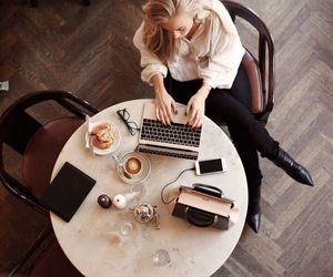 coffee, girl, and work image