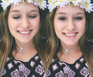 boho, flower child, and flower crown image