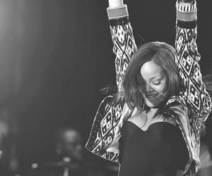 rihanna, concert, and black and white image