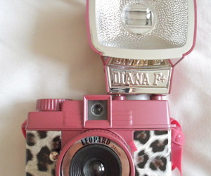 pink, camera, and leopard image