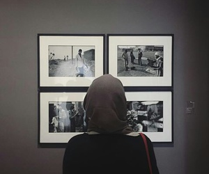 art, black & white, and hijab image