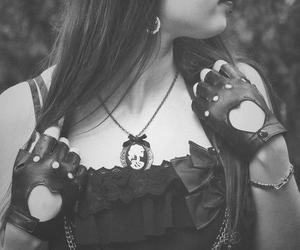 girl, black and white, and necklace image