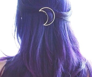 hair, purple, and moon image