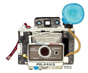 camera, polaroid, and art image