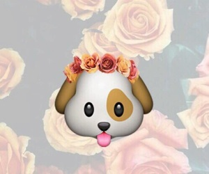 dog, emoji, and flowers image