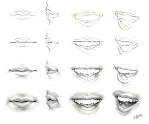 lips, draw, and pencil image