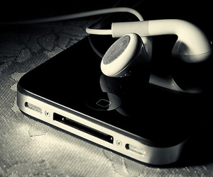 iphone, music, and headphones image