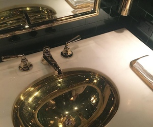 gold, luxury, and bathroom image